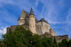 Vianden Castle. The powerful castle of Vianden, Luxembourg under a clear summer sky Stock Photos