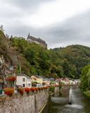 Vianden Castle above the village in Luxembourg stock photo
