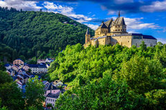 Vianden Castle. And Vianden city, Luxembourg Royalty Free Stock Photo