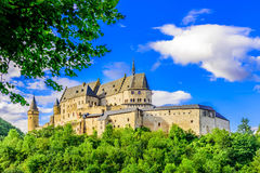 Vianden Castle. And Vianden city, Luxembourg Royalty Free Stock Image