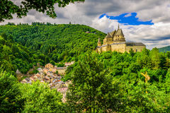 Vianden Castle. And Vianden city, Luxembourg Stock Photos