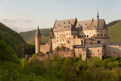 Vianden castle. Famous medieval fortified Vianden castle in Luxembourg Stock Photography