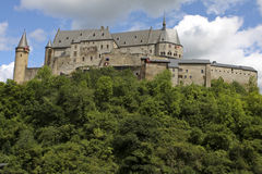 Vianden castle in Luxembourg. The famous medieval Vianden castle in Luxembourg Royalty Free Stock Image
