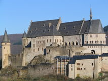 Vianden castle (Luxembourg). The medieval castle of Vianden, in Luxembourg, Europe. One of the largest and most beautiful fortified castles west of Germany Royalty Free Stock Images