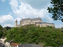 Vianden castle Luxembourg. Scenic view of Vianden city castle on hilltop, Luxembourg Royalty Free Stock Photo