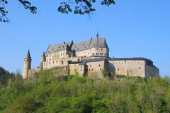 Vianden Castle in Luxembourg. Vianden, Luxembourg - April 29, 2019 : Vianden is a fortified castle located in the north of Luxembourg, near the border of Germany stock image