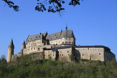 Vianden Castle in Luxembourg. Vianden, Luxembourg - April 29, 2019 : Vianden is a fortified castle located in the north of Luxembourg, near the border of Germany stock photography