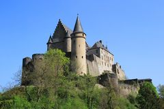 Vianden Castle in Luxembourg. Vianden, Luxembourg - April 29, 2019 : Vianden is a fortified castle located in the north of Luxembourg, near the border of Germany royalty free stock photos