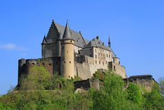 Vianden Castle in Luxembourg. Vianden, Luxembourg - April 29, 2019 : Vianden is a fortified castle located in the north of Luxembourg, near the border of Germany royalty free stock images