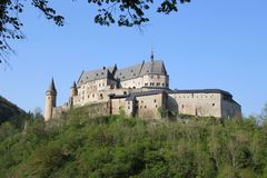 Vianden Castle in Luxembourg. Vianden, Luxembourg - April 29, 2019 : Vianden is a fortified castle located in the north of Luxembourg, near the border of Germany royalty free stock image