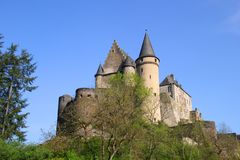 Vianden Castle in Luxembourg. Vianden, Luxembourg - April 29, 2019 : Vianden is a fortified castle located in the north of Luxembourg, near the border of Germany royalty free stock photo