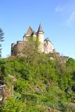 Vianden Castle in Luxembourg. Vianden, Luxembourg - April 29, 2019 : Vianden is a fortified castle located in the north of Luxembourg, near the border of Germany stock photo