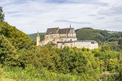 Vianden Castle in Luxembourg on a rocky promontory, panoramic view stock photo