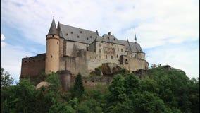 Vianden Castle. Old Vianden Castle in Luxembourg stock footage