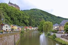 Vianden castle and panorama of Vianden, Luxembourg. Vianden panorama and castle view, Luxembourg Royalty Free Stock Images