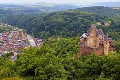 Vianden castle and panorama of Vianden, Luxembourg. Vianden panorama and castle view, Luxembourg Stock Photography