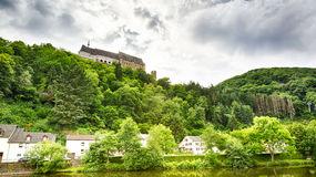 The Vianden Castle and part of the city below it Royalty Free Stock Photography