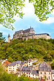 Vianden castle and village bellow Stock Image
