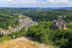 Vianden, Luxembourg. The historic town of Vianden, in Luxembourg, Europe, with the old castle and river Our Royalty Free Stock Photography