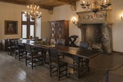 A room in medieval Vianden castle, Switzerland royalty free stock image