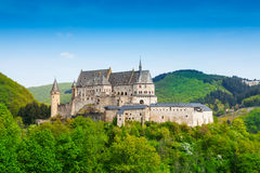 Vianden Luxembourg mountains and forests. View of Vianden castle panorama with forests and hills in Luxembourg Stock Images