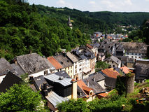 Vianden, Luxembourg on the River Sauer. Vianden (Luxembourgish: Veianen) is a commune with city status in the Oesling, north-eastern Luxembourg, with over 1,800 Royalty Free Stock Photography