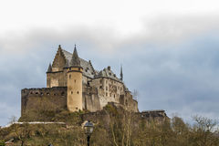 Vianden medieval Castle in Luxembourg. Vianden Castle in sunny spring day, Luxembourg Royalty Free Stock Photo