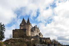 Vianden medieval Castle in Luxembourg. Vianden Castle in sunny spring day, Luxembourg Royalty Free Stock Photos