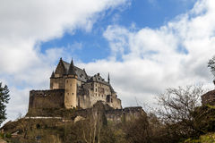 Vianden medieval Castle in Luxembourg. Vianden Castle in sunny spring day, Luxembourg Stock Photos