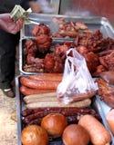 Viandes au marché chinois Photos stock