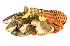 Viandes de gril de poissons Image stock