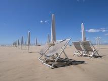 Viareggio beach, out of season. Looking out to sea. royalty free stock photos