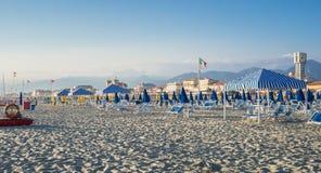 Viareggio beach, Tuscany, Italy. Royalty Free Stock Images
