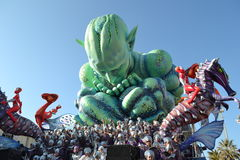 Viareggio carnival, carnevale. A carnival float , made of paper-pulp. Carnival of Viareggio (carnevale di Viareggio) , one of the most important carnival parade stock photo
