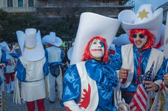 Viareggio, first parade of carnival,Italy Stock Photo