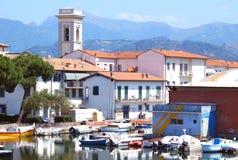 Viareggio, Italy. Viareggio view of old port, white houses and small boats and called Toscana docks.Italy stock image