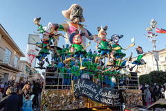VIAREGGIO, ITALY - FEBRUARY 20:   allegorical float  of criticis Royalty Free Stock Photo