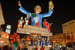 VIAREGGIO, ITALY - FEBRUARY 20: allegorical float in honor of. The victory of Italy team of the World Cup held in Germany in 2006 at Viareggio Carnival held Royalty Free Stock Photos