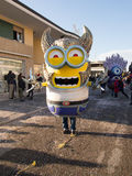 VIAREGGIO, ITALY - FEBRUARY 2:   allegorical float of minions at Royalty Free Stock Photography