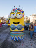 VIAREGGIO, ITALY - FEBRUARY 2:   allegorical float of minions at Royalty Free Stock Images