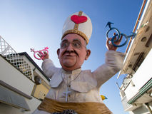VIAREGGIO, ITALY - FEBRUARY 2:   allegorical float of pope Bergo Stock Images