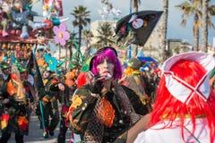 VIAREGGIO, ITALY - FEBRUARY 17, 2013 - Carnival Show parade on town street Royalty Free Stock Images