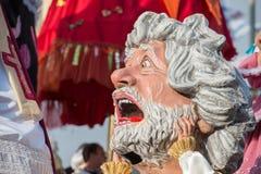 VIAREGGIO, ITALY - FEBRUARY 17, 2013 - Carnival Show parade on town street Royalty Free Stock Photos