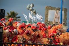 VIAREGGIO, ITALY - FEBRUARY 17, 2013 - Carnival Show parade on town street Stock Image