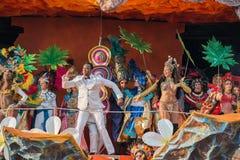 VIAREGGIO, ITALY - FEBRUARY 17, 2013 - Carnival Show parade on town street Stock Photos