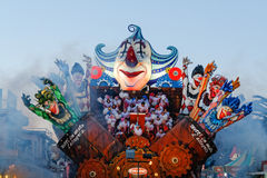 VIAREGGIO, ITALY - February 7:   parade of allegorical chariot a Royalty Free Stock Photo