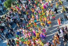 VIAREGGIO, ITALY - FEBRUARY 10, 2013: People enjoy carnival para. De. This is the main carnival of Tuscany stock photography