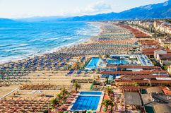 Viareggio-Panoramablick der Küstenlinie, Versilia, Toskana, Italien lizenzfreies stockbild
