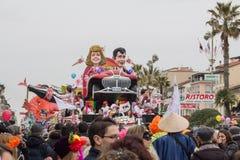 Viareggio's Carnival 2016. Dynamic mask parade at the carnival of Viareggio stock images