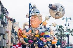 Viareggio`s carnival,2019 edition. VIAREGGIO,ITALY-09: A giant paper-mache called `moon dream` depicting a dreaming donald trump floats moves through the streets stock photos